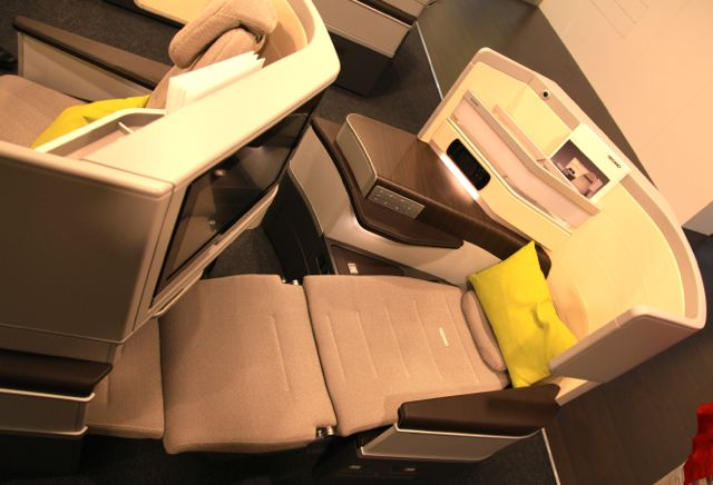 Recaro Business Class seat pod, reclined position, Image © Flight Chic, 2014