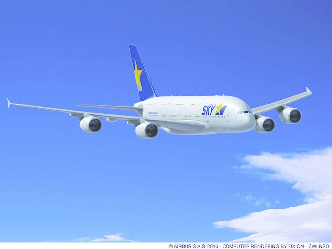 2010 Rendering of Skymark A380 by Fixion/Airbus