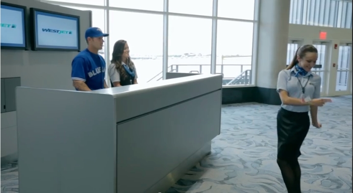 Still from WestJet & Toronto Blue Jays on YouTube
