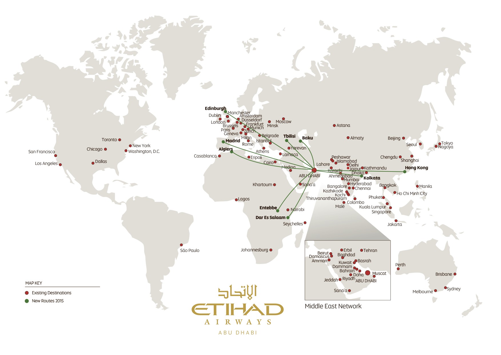 Qatar Airways Route Map 2015