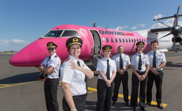 Qantas Pilots don their pink epaulettes to support FlyPink campaign raising awareness and funds for Breast Cancer Research.