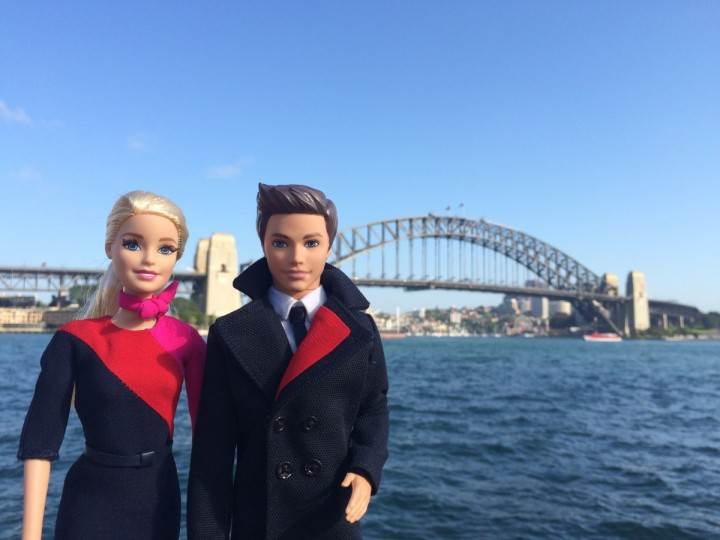 Barbie and Ken Don Wearing Qantas' New Uniforms in Sydney