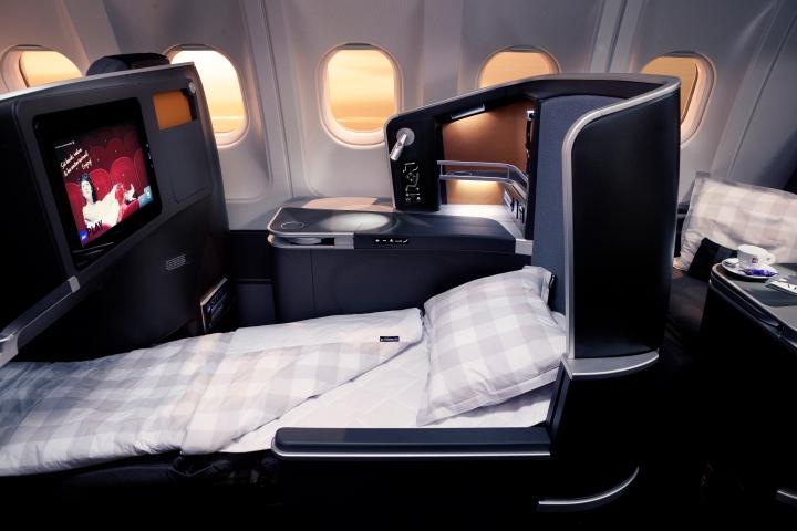 SAS Business class seat with Hästens bedding. Source: SAS